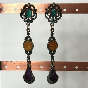 Jewelry - Retro Steampunk Silvertone Enamel Swirl Earrings